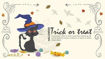gato preto com chapéu de bruxa para ilustração plana de halloween vetor