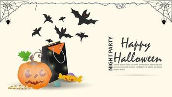 morcegos voam de um pacote de presentes para o dia das bruxas vetor