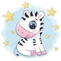 zebra bebê fofo com estrelas. ilustração vetorial. vetor