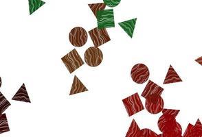 capa de vetor verde e vermelho claro em estilo poligonal com círculos.
