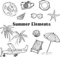 vetor de desenho de mão de elementos de verão