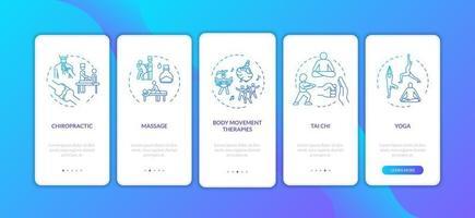 tela da página do aplicativo móvel de integração de medicina complementar com conceitos vetor