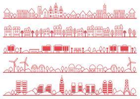 Grupo simples do desenho do townscape, ilustração do vetor. vetor