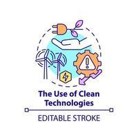 uso de ícone do conceito de tecnologias limpas vetor