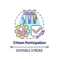 ícone do conceito de participação cidadã vetor