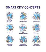 conjunto de ícones de conceito de cidade inteligente vetor