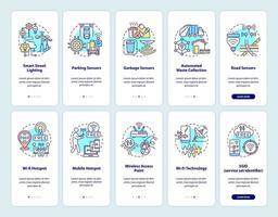 tecnologias de cidade inteligente integrando conjunto de tela de página de aplicativo móvel vetor