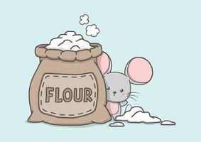 rato bonito dos desenhos animados com saco de farinha vetor