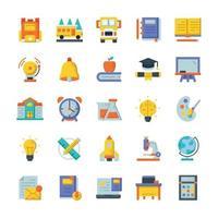 conjunto de ícones de volta às aulas com estilo simples. vetor