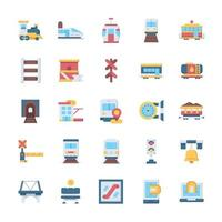 conjunto de ícones ferroviários com estilo simples. vetor