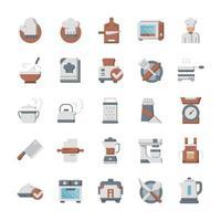 conjunto de ícones de cozinha com estilo simples. vetor