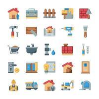 conjunto de ícones de casa e renovação com estilo simples. vetor