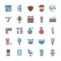 conjunto de ícones de barbearia com estilo simples. vetor