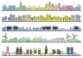 Paisagem urbana simples conjunto de desenho. vetor