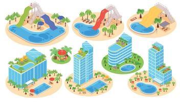 conjunto de parque aquático de hotel vetor