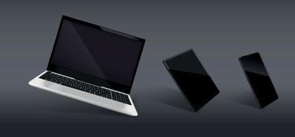 composição realista de laptop e smartphone vetor