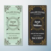 Modelo de Design de fundo de panfleto Vintage de convite de casamento vetor