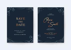modelo de cartão de casamento luxuoso e elegante vetor