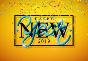 Ilustração de feliz ano novo de 2019 com confetes caindo