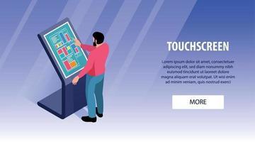banner horizontal touchscreen interativo vetor