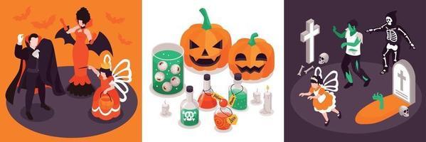 conceito isométrico de design de halloween vetor