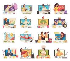 conjunto de desenhos animados de video bloggers vetor