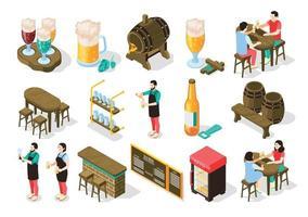 conjunto isométrico de bar de cerveja vetor