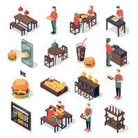 conjunto de ícones de hamburguerias vetor
