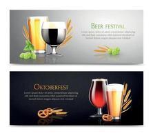 banners horizontais do festival da cerveja vetor