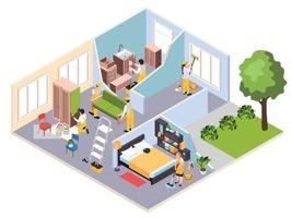 composição isométrica de conserto de apartamento vetor