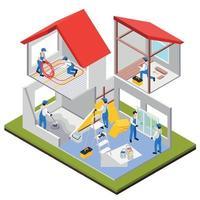 composição isométrica de renovação de casa vetor