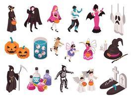 conjunto de ícones de festa de halloween vetor
