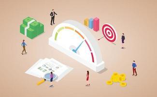 pontuação de classificação de crédito com medidor financeiro com dinheiro e gols vetor