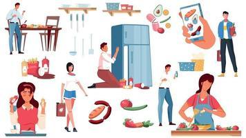 nutrições conjunto de ícones de alimentos vetor