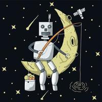 ilustração de robô solitário pescando na lua vetor