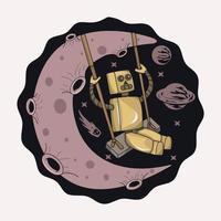 ilustração de robô balançando na lua vetor