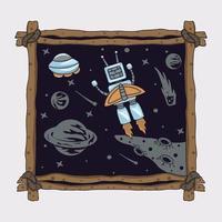 o robô voa em um foguete para sua ilustração de nave espacial vetor