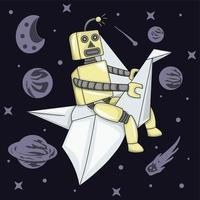 robô voando usando avião de papel na ilustração do espaço vetor