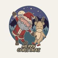 Papai Noel fofo e veado fofo dançando juntos ilustração vetorial premium vetor