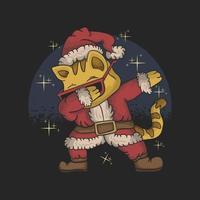 gato fofo vestindo fantasia de Papai Noel e dabbing ilustração de dança vetor