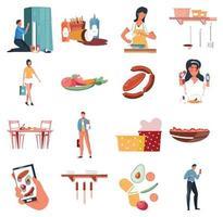 coleção de ícones planos nutrições vetor