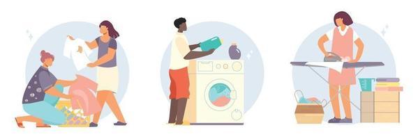 Lavandaria pessoas composições planas vetor