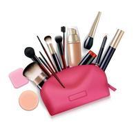 composição realista de bolsa de cosméticos vetor