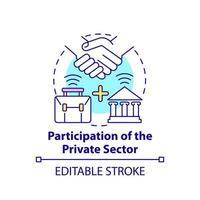 participação do ícone do conceito do setor privado vetor