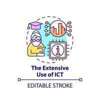 uso extensivo do ícone do conceito ict vetor