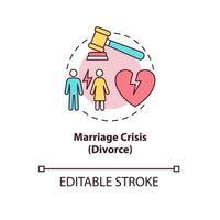 ícone do conceito de crise de casamento vetor