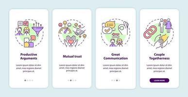 relacionamento maduro assina tela da página do aplicativo móvel de integração vetor
