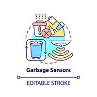 ícone do conceito de sensores de lixo vetor