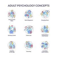 conjunto de ícones de conceito de psicologia adulta vetor