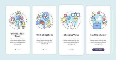 papéis sociais na tela da página do aplicativo para dispositivos móveis vetor